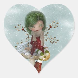 Adesivo Coração verde do inverno