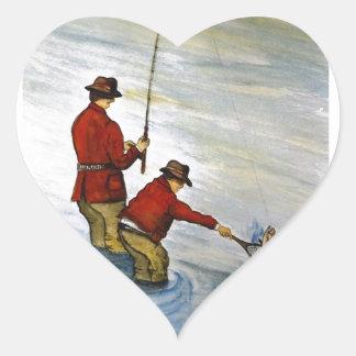 Adesivo Coração Viagem de pesca do pai e do filho