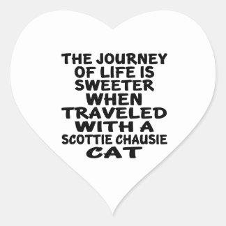Adesivo Coração Viajado com o gato do chausie do Scottie