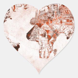 Adesivo Coração vintage 3 do mapa do mundo