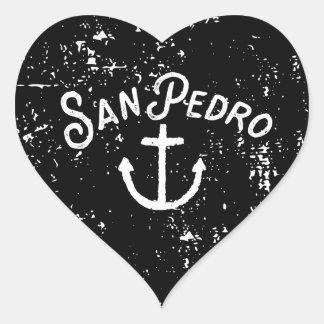 Adesivo Coração Vintage da âncora de San Pedro Los Angeles