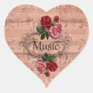 Adesivo Coração Vintage floral para o amor da música