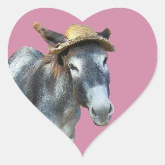 Adesivo Coração Violeta o asno no chapéu de palha com flores