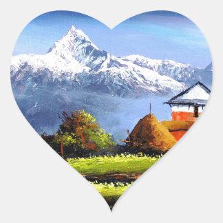 Adesivo Coração Vista panorâmica da montanha bonita de Everest