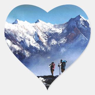 Adesivo Coração Vista panorâmica da montanha máxima de Ama Dablam