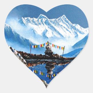 Adesivo Coração Vista panorâmica da montanha Nepal de Annapurna