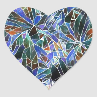 Adesivo Coração Vitral artístico da lavanda preta bonito