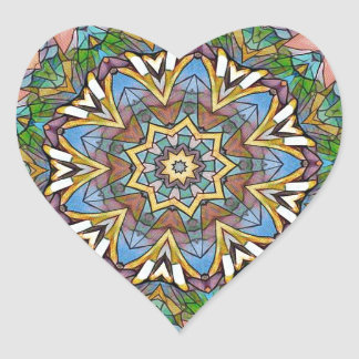 Adesivo Coração Vitral artístico Pastel legal bonito