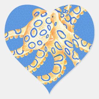 Adesivo Coração Vitral azul do polvo