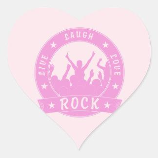 Adesivo Coração Vive a ROCHA do amor do riso (o rosa)