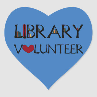 Adesivo Coração Voluntário da biblioteca - escolha a cor