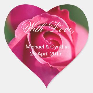 Adesivo Coração Wedding com o rosa do rosa do amor