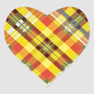 Adesivo Coração Xadrez/Tartan - girassol
