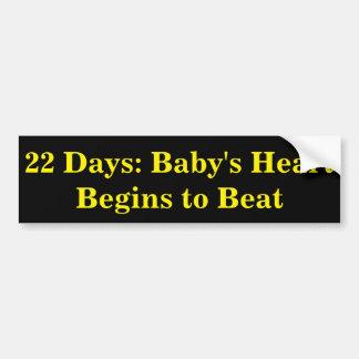 Adesivo De Para-choque 22 dias: O coração do bebê começa a bater