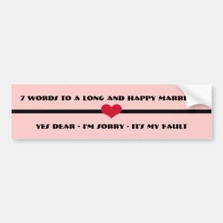 Adesivo De Para-choque 7 palavras a um casamento longo e feliz