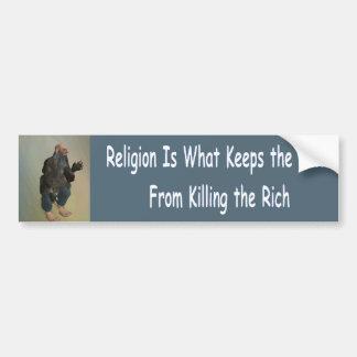 Adesivo De Para-choque a religião é o que mantem os pobres