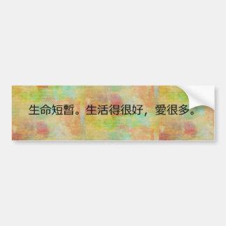Adesivo De Para-choque A vida do chinês tradicional é curta