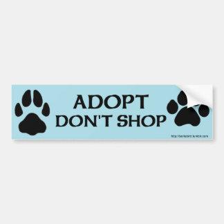 Adesivo De Para-choque Adopt não compra com impressão da pata do cão e