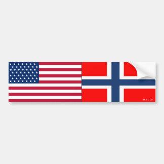Adesivo De Para-choque Americano & norueguês embandeira o autocolante no