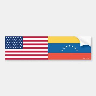 Adesivo De Para-choque Americano & venezuelano embandeira o autocolante