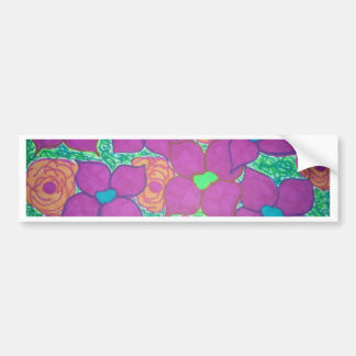 Adesivo De Para-choque Arte tropical colorida do teste padrão de flor