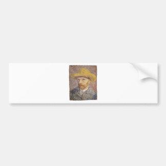 Adesivo De Para-choque Auto-Retrato com um chapéu de palha - Van Gogh
