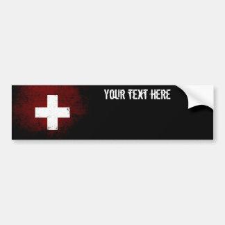 Adesivo De Para-choque Bandeira preta da suiça do Grunge