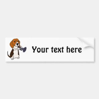 Adesivo De Para-choque Cão engraçado do lebreiro que joga a trombeta