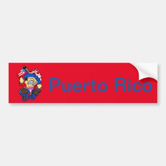 Adesivo De Para-choque Caráter bonito de Puerto Rico com bandeira