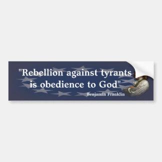 Adesivo De Para-choque Citações de Benjamin Franklin na rebelião