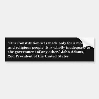 Adesivo De Para-choque Citações do presidente John Adams na constituição