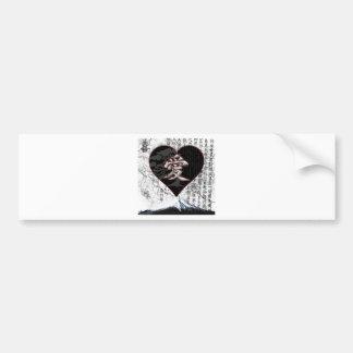 Adesivo De Para-choque Coração de Fuji - amor do Kanji - preto & vermelho