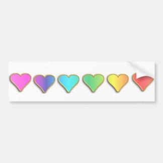 Adesivo De Para-choque Corações do arco-íris do KRW