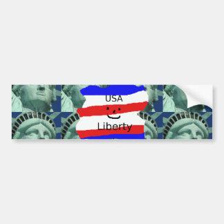 Adesivo De Para-choque Cores da bandeira dos EUA com estátua da liberdade