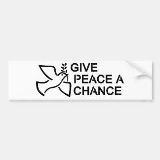 Adesivo De Para-choque Dê a paz uma possibilidade