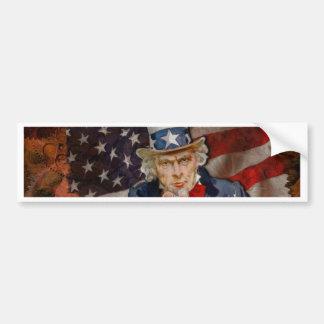 Adesivo De Para-choque Design patriótico da bandeira de Steampunk Sam
