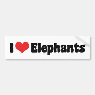 Adesivo De Para-choque Eu amo elefantes do coração - amante do elefante