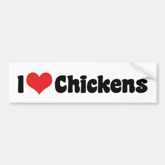 Adesivo De Para-choque Eu amo galinhas do coração - amante da galinha