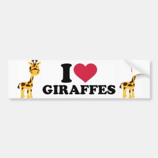 Adesivo De Para-choque Eu amo girafas