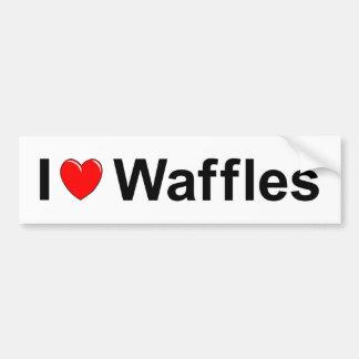 Adesivo De Para-choque Eu amo Waffles do coração