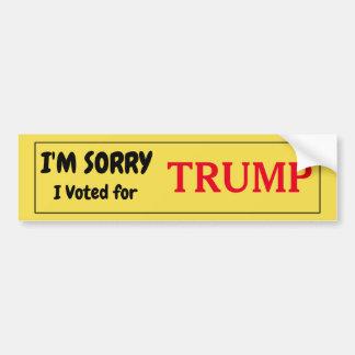 Adesivo De Para-choque Eu sou pesaroso que eu votei para o trunfo