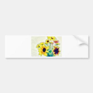 Adesivo De Para-choque Girassol do verão e buquê de Strawflower
