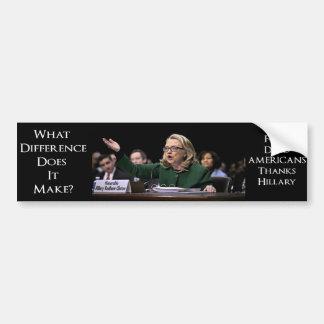 Adesivo De Para-choque Hillary Clinton - que diferença faz?