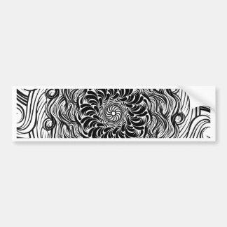 Adesivo De Para-choque Ilusão óptica do Doodle ornamentado do zen preto e