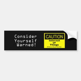 Adesivo De Para-choque Internet do sinal de aviso do cuidado de IoT das
