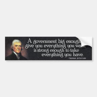 Adesivo De Para-choque Jefferson: Beware do governo grande