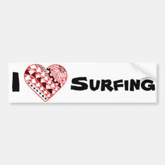 Adesivo De Para-choque LineA mim coração que surfa (polinésio)