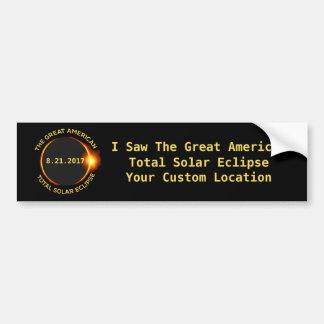 Adesivo De Para-choque Lugar total do costume dos EUA do eclipse solar