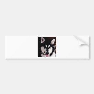 Adesivo De Para-choque Malamute do Alasca de sorriso preto e branco