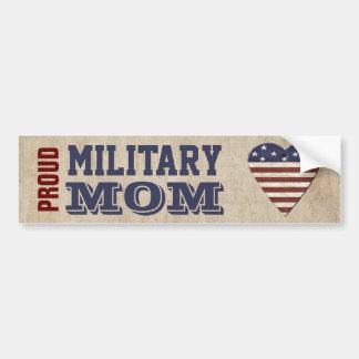 Adesivo De Para-choque Mamã militar orgulhosa com coração patriótico